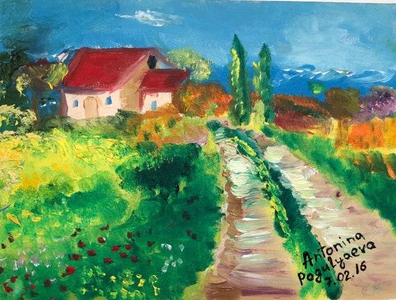 Landscape Oil Painting Impressionist Art Italian Landscape Etsy
