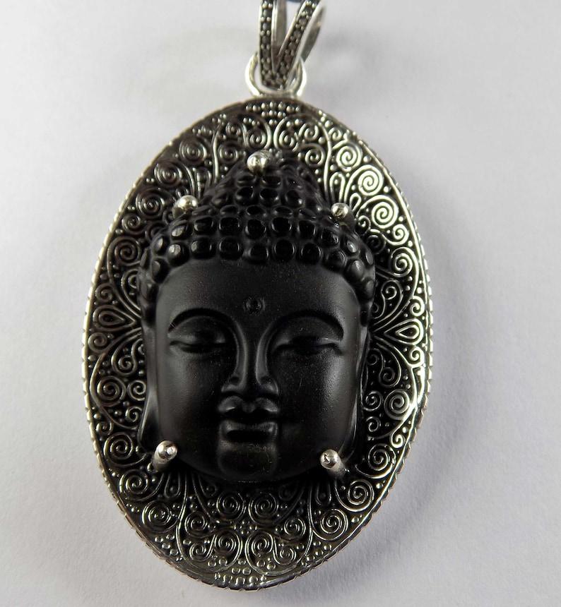 40x70mm 35.17 Gram 1 Piece Amulet 925 Sterling Silver Pendants. Buddha Nature Black Obsidian Necklace Pendant