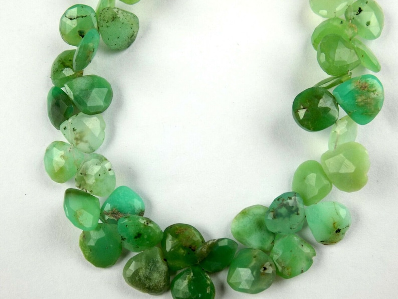 Natural Chrysoprase Heart Faceted Briolette 9 Inch Long