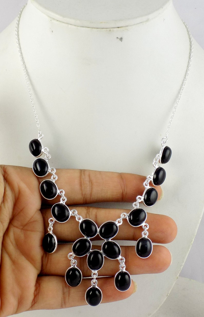 Natural Women Black Onyx Gemstone Silver Necklace 20 Inch Long