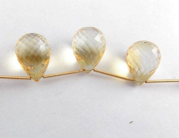 1 brin 3 Pcs naturelles larmes Citrine forme 13X18mm Briolette Briolette 13X18mm perles 3,5