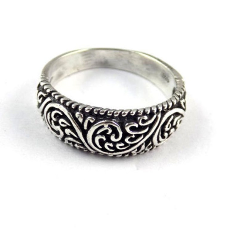 Silver Ring 1 Pc 925 Sterling Silver Floral Style Design High Polished Black Oxidize Ring Fashion Ring Black Oxidize  Fancy Ring SOR05