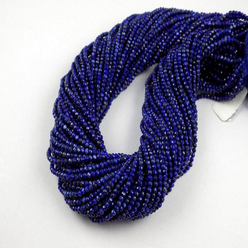 5 Strand Lapis Micro Faceted Rondelle Approx 2.40mm Gemstone Beads 13 LongLapis Lazuli Faceted StonesJewelry Making BeadsGems /& Beads
