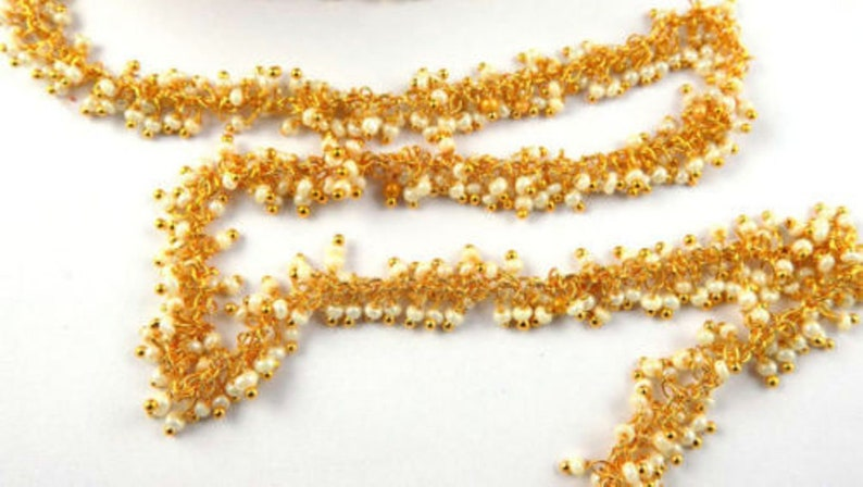Necklace Findings Crystal Chains Foot Chains Beads Chain CHN203 5,5mm 24 k Shiny Gold Plated Wire Wrapped Rosary Chains