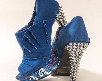 ae94aa21233 Blue Camo Spiked Heels