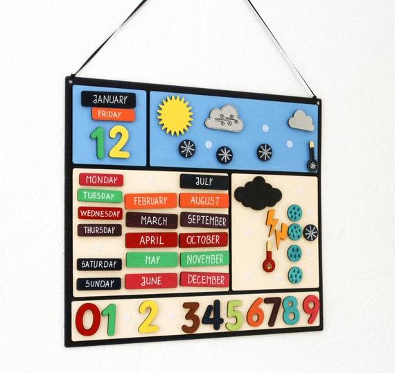 Calendario Con Numero Giorni.Meteo Calendario Con Mesi Giorni Feriali E Numeri Giocare E Imparare