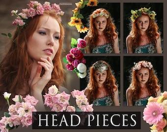 Photoshop Flower Crown Headpiece Overlays