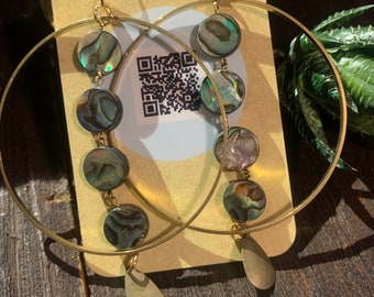 Light weight brass hoops with Abalone shell dangles
