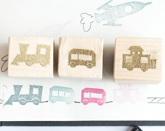 set rubber train stamps