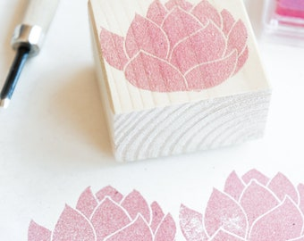 set floral rubber, pink, loto and tulip stamps