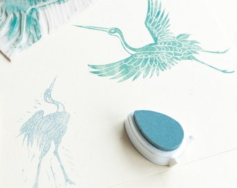 rubber and wood stamps Japanese Crane -tsuru-