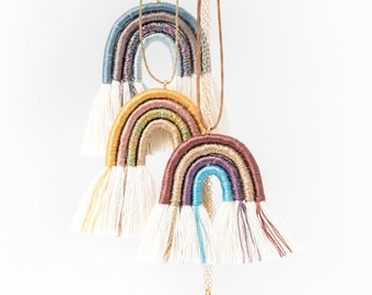 rainbow necklace in macramè rope in various customizable colors