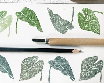 Timbro in gomma e legno foglia di calla