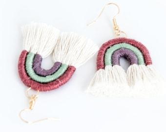 Rainbow earrings in pink, turquoise and purple macramè rope