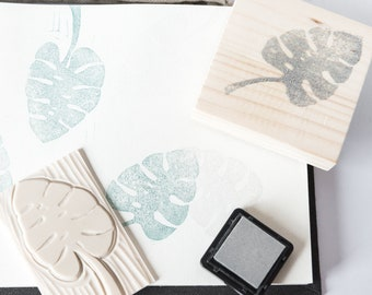 Set rubber stamps leaves of Monstera Deliciosa