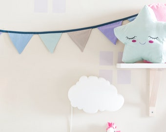 Garland of colored flags in cotton or linen, variable lengths, colorful flags for customizable bedrooms and nursery
