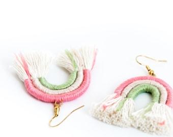 Rainbow earrings in pink, white and green macramè rope