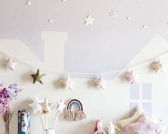 wreath of stars colored in fabric, faux leather and rope, decoration for star bedroom, decorative stars for nursery