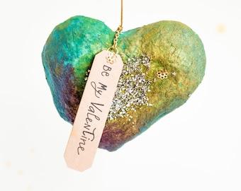 Custom decorative heart to hang in spun cotton