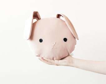 pink rabbit pillow for nursery and bedrooms