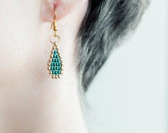 Gold and turquoise drop dangling bead earrings, original drop earrings, customizable light earrings
