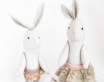 plush bunny-shaped with skirt. Custom.