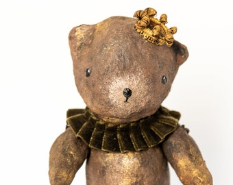 Toy bear articulated in cotton yarn, bear decoration for bedroom, bear toy in vintage style