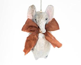 grey elephant in vintage circus style cotton yarn. Custom.