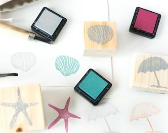 set rubber stamps theme sea