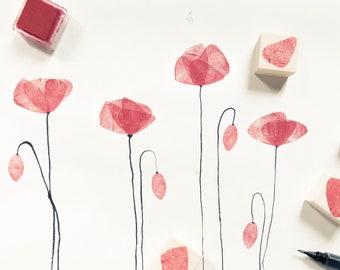 Stamp rubber tulip petals.