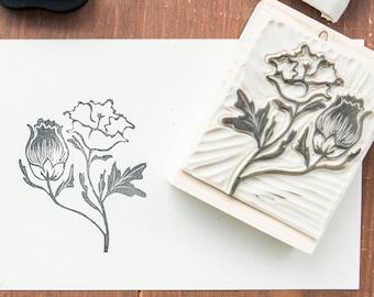 rubber stamp and vintage flower wood