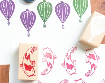 Stamps for print on oriental-style fabric, lanterns, fan and koi carp