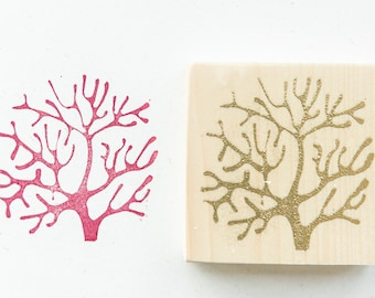 Coral-shaped maritime rubber stamp for linoleography, paper and fabric printing