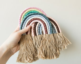 rainbow in macrash rope to hang. For nursery, bedrooms and living