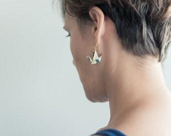 Japanese crane origami earrings, tsuru, with English floral pattern edrizz