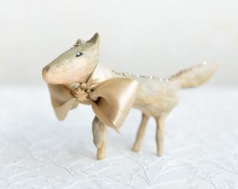 Decorazione lupo in cotone filato, statuina animale da collezione, regalo per amanti della natura, spun cotton