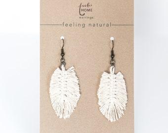 white boho macramè feather earrings