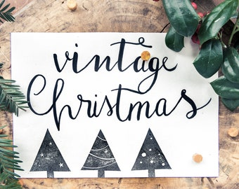 Stylized Christmas tree stamps to create tickets, decorated packing paper