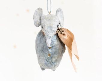 grey decorative elephants in vintage style in cotton yarn.