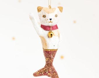 maneki neko mermaid in cotton yarn with collar and bell. Custom
