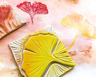 Gingko biloba leaf rubber stamp