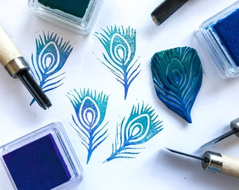 Feather-shaped rubber stamp
