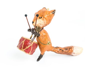 vintage-inspired decoration. Fox with drum and cotton bow. Custom.