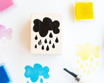 rubber stamp and wood raindrops with bag