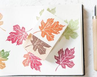 Botanical-themed rubber and wood stamp, maple leaf stamp, floral illustration
