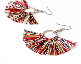 Boho earrings with multicolored tassel pendant