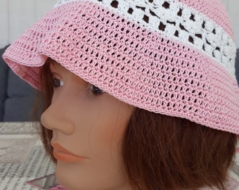 Charming spring pink and white 100% cotton crochet handmade Hat