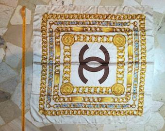 284530d1a0d Vintage Chanel silk bordeaux scarf foulard very rare print