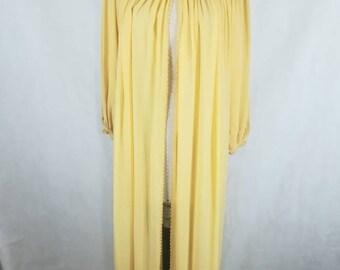 Vintage 60s dressing gown with handmade crochet rare lingerie dark cream