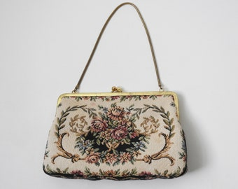 Authentic Vintage 1950s Floral Tapestry Small Formal Evening Purse Walborg Bag Free Shipping US